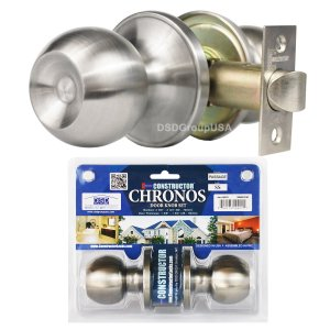 """Chronos"" Passage Stainless Steel Finish, Door Lever Lock Set Knob Handle Set - DSD Brands"