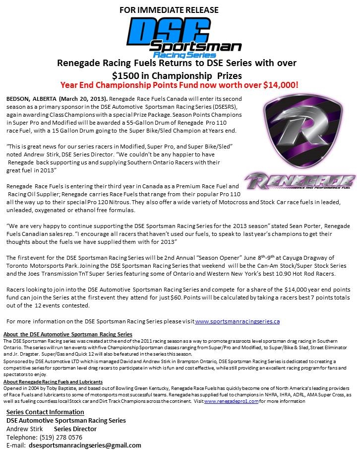 Renegade Racing Fuels Returns to DSE Series with over $1500