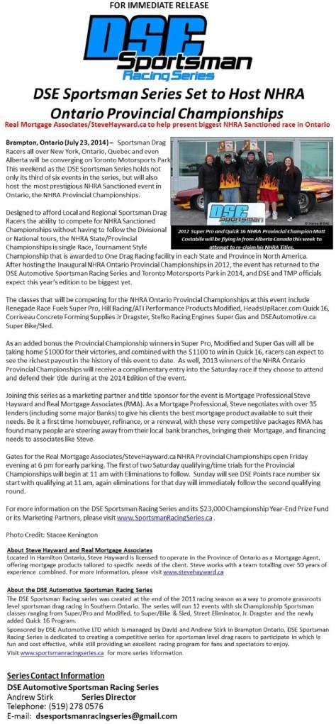 DSE Sportsman Series Set to Host NHRA Ontario Provincial Championships