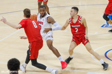 SMU guard Tyson Jolly makes a move during the second half of the game against Hartford on November 27, 2019 at Moody Coliseum in Dallas, Tx. (Photo by Joseph Barringhaus/Dallas Sports Fanatics)