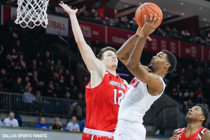 SMU forward Feron Hunt goes up to the basket during the first half of the game between Southern Methodist University and Hartford on November 27, 2019 at Moody Coliseum in Dallas, Tx. (Photo by Joseph Barringhaus/Dallas Sports Fanatics)