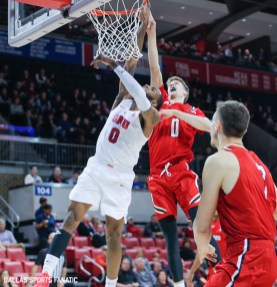 SMU Junior Tyson Jolly is fouled on his way to the basket during the game between Southern Methodist University and Hartford on November 27, 2019 at Moody Coliseum in Dallas, Tx. (Photo by Joseph Barringhaus/Dallas Sports Fanatics)