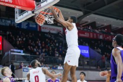 SMU forward Feron Hunt dunks during the game against Northwestern State on December 3, 2019 at Moody Coliseum in Dallas, Tx. (Photo by Joseph Barringhaus/Dallas Sports Fanatic)