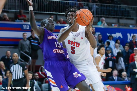 SMU guard Emmanuel Bandoumel drives the basket during the second half of the game against Northwestern State on December 3, 2019 at Moody Coliseum in Dallas, Tx. (Photo by Joseph Barringhaus/Dallas Sports Fanatic)