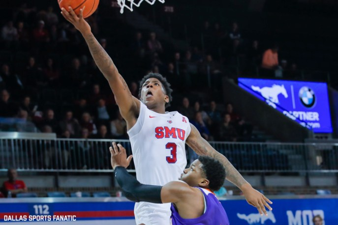 SMU guard Kendric Davis goes up to the basket during the second half of the game against Northwestern State on December 3, 2019 at Moody Coliseum in Dallas, Tx. (Photo by Joseph Barringhaus/Dallas Sports Fanatic)