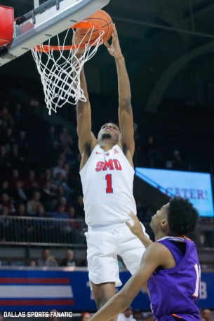 SMU forward Feron Hunt goes up for a dunk during the second half of the game against Northwestern State on December 3, 2019 at Moody Coliseum in Dallas, Tx. (Photo by Joseph Barringhaus/Dallas Sports Fanatic)