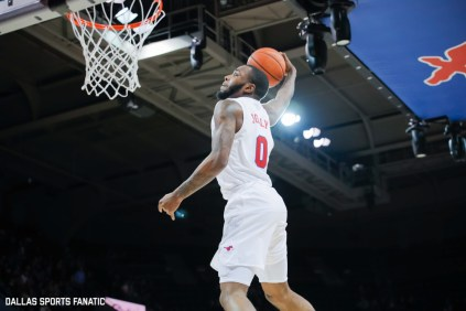 SMU guard Tyson Jolly winds up for a dunk during the second half of the game against Temple on January 18, 2020, at Moody Coliseum in Dallas, Tx. (Photo by Joseph Barringhaus/Dallas Sports Fanatic)