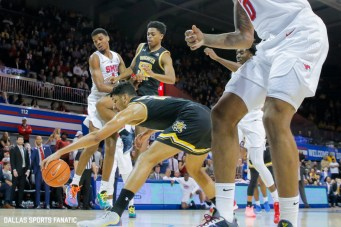 Wichita State center Jaime Echenique (21) reaches for a ball during the American Athletic Conference college basketball game between the SMU Mustangs and the Wichita State Shockers on March 1, 2020 at Moody Coliseum in Dallas, Texas. (Photo by Joseph Barringhaus/Dallas Sports Fanatic)