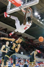 SMU guard Emmanuel Bandoumel (5) makes an alley top during the American Athletic Conference college basketball game between the SMU Mustangs and the Wichita State Shockers on March 1, 2020 at Moody Coliseum in Dallas, Texas. (Photo by Joseph Barringhaus/Dallas Sports Fanatic)