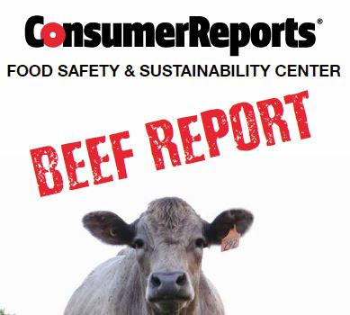 Cover of August 2015 Beef Report. Current Consumer Report information is available at: http://greenerchoices.org/