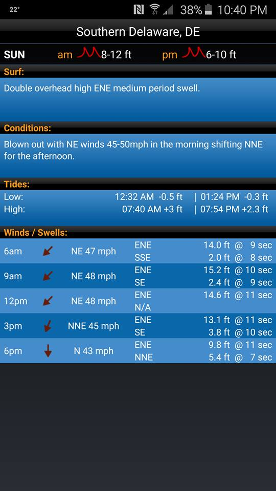 Swellinfo waves this Saturday - delaware-surf-fishing com