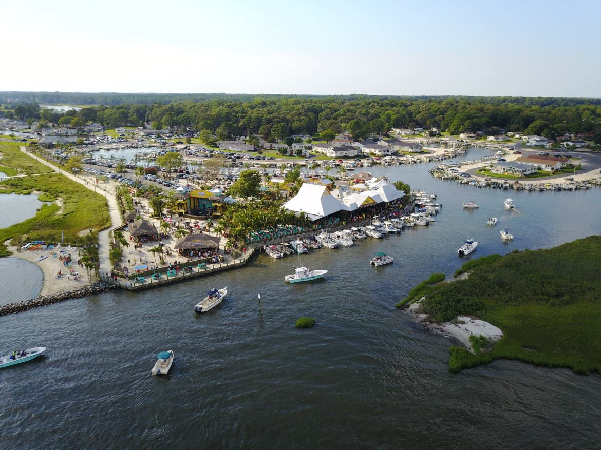 flounder pounder open 2017, longneck, sussex county, delaware, paradise marina, aerial photo