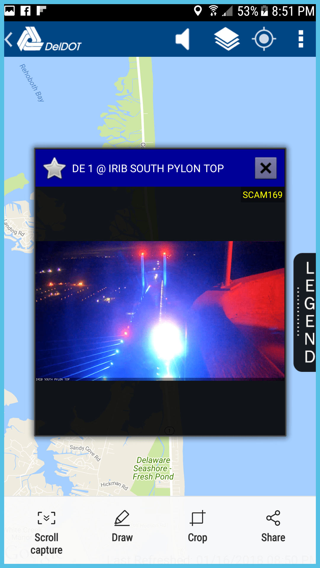deldot app,traffic camera, web cam, delaware, sussex coutny, indian river inlet bridge, south tower, charles w cullen bridge, north beach, southside, big chill beach club, route 1, coastal highway, indian river inlet bridge at night,