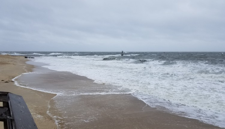 Southside beach at Indian River inlet n Delaware seashore state park at high tide