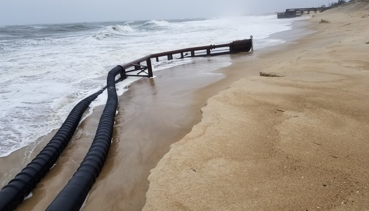 The sand dredge pipe got knocked around