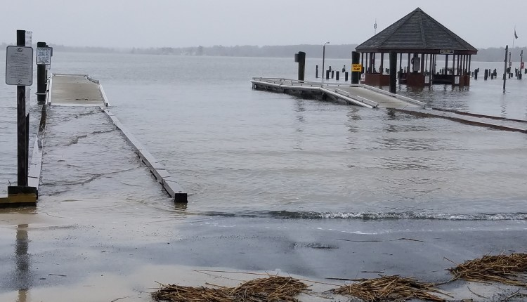 Boat ramp at Rosedale beach at high tide