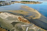 Aerials of indian river bay, sand bars, masseys dredge project, masseys ditch, landing, long neck, inland bays, bird island, middle island, raccoon thicket island,