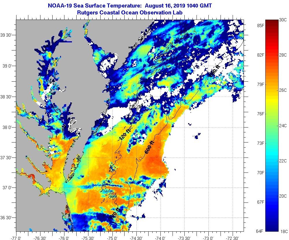 water temperatures, satellite imagery, rutgers, marine temperatures