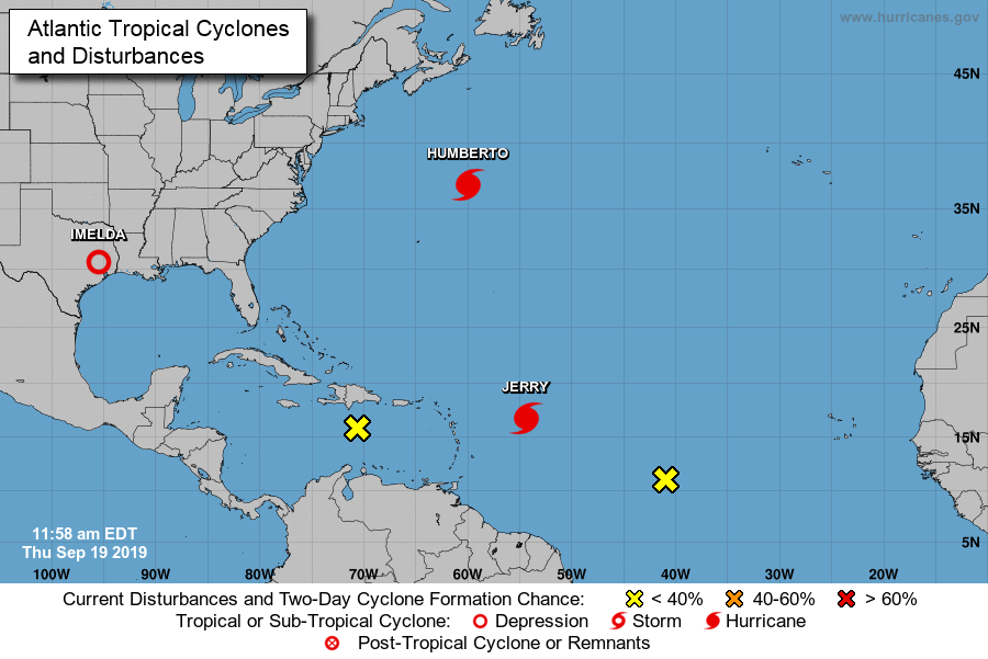 atlantic ocean sotrms, hurricane, humberto, jerry, tropical storms, noaa, national hurricane center