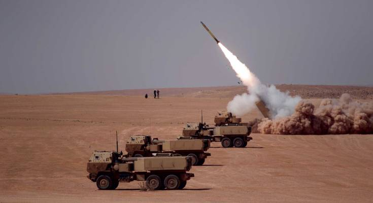 army rocket launcher in the desert
