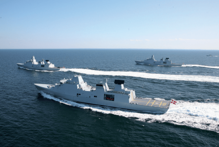 thee Danish warships in formation on the ocean