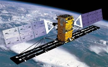 illustration of a satellite with solar panels in orbit above the earth