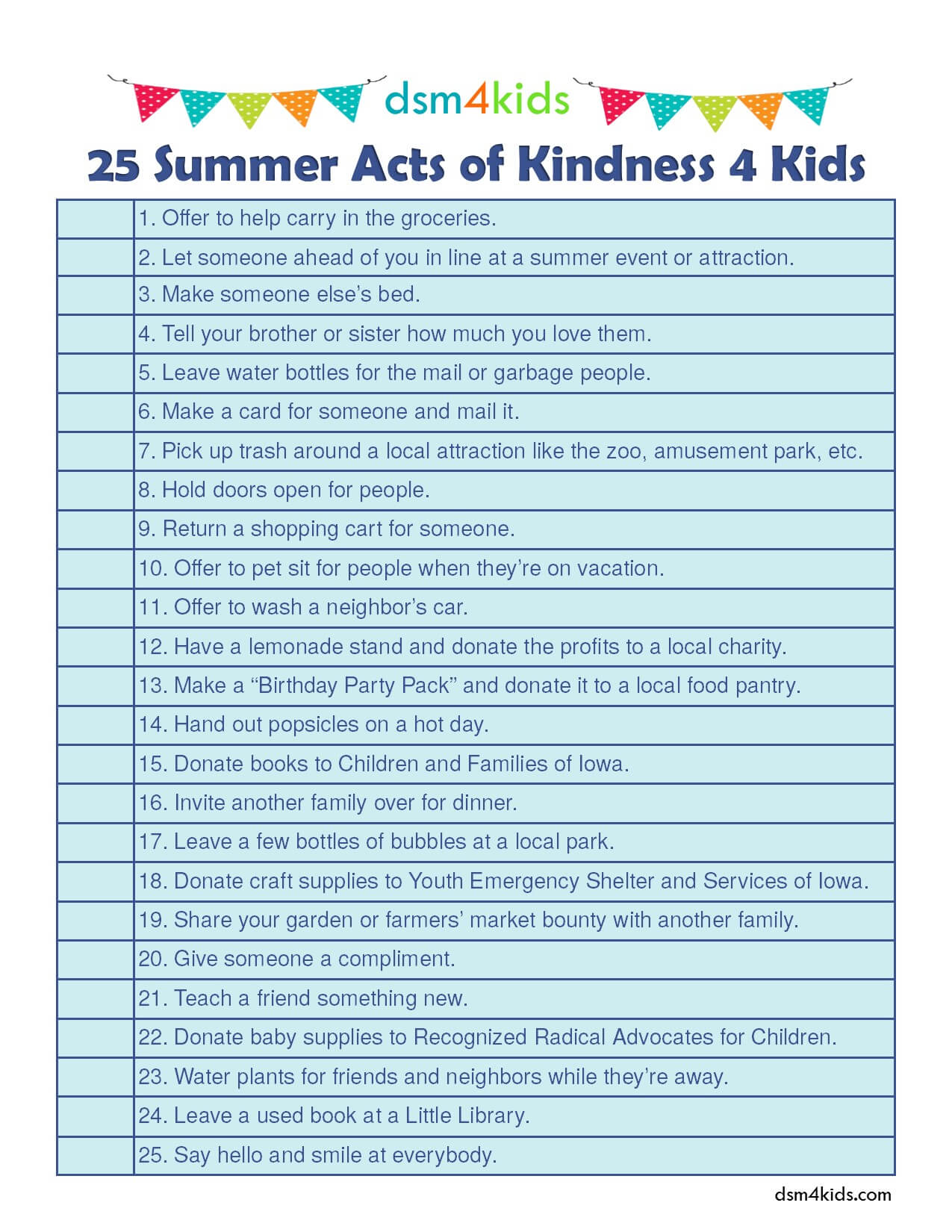 25 Summer Acts Of Kindness 4 Kids