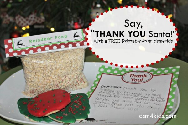 "Say, ""Thank You Santa!"" with a FREE Printable from dsm4kids - dsm4kids.com"