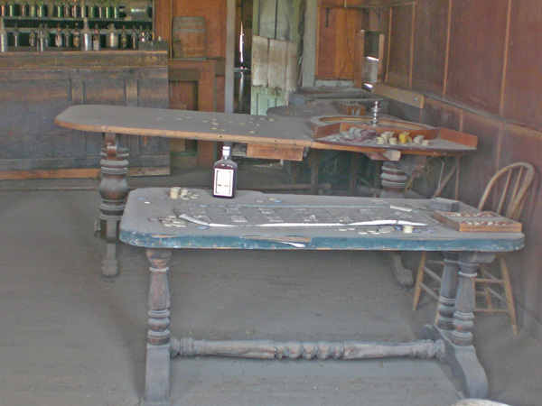 Faro table in saloon at ghost town of Bodie, California