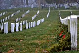 Thousands of headstones dot the hillsides in the cemetery.