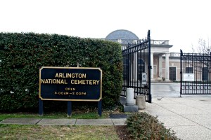 The entry gate of the cemetery encourages visitors to feel a sense of solemn respect for those who rest within the fence.