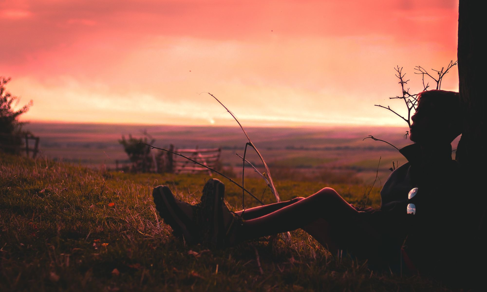 Silhouette of man with schizoid personality disorder sitting on grass during golden hour