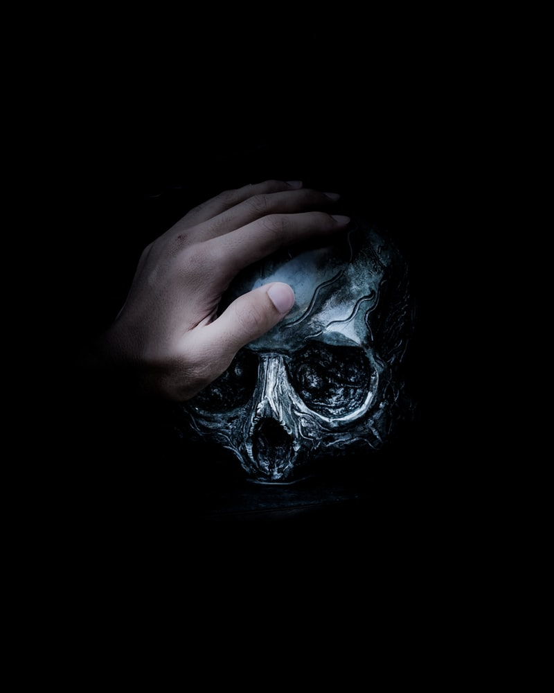Person's hand on gray skull
