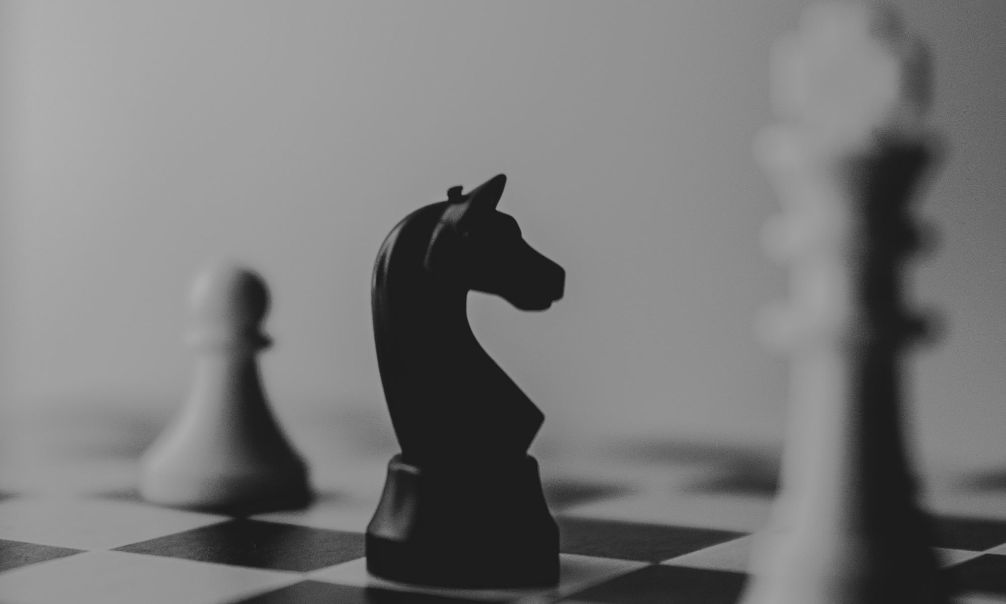 Black horse chess piece cornered by white king and pawn