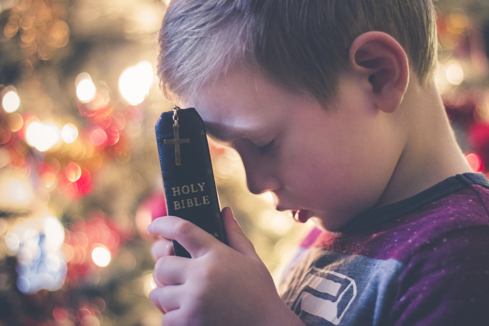 Young bog praying and holding holy bible against his face near Christmas lights