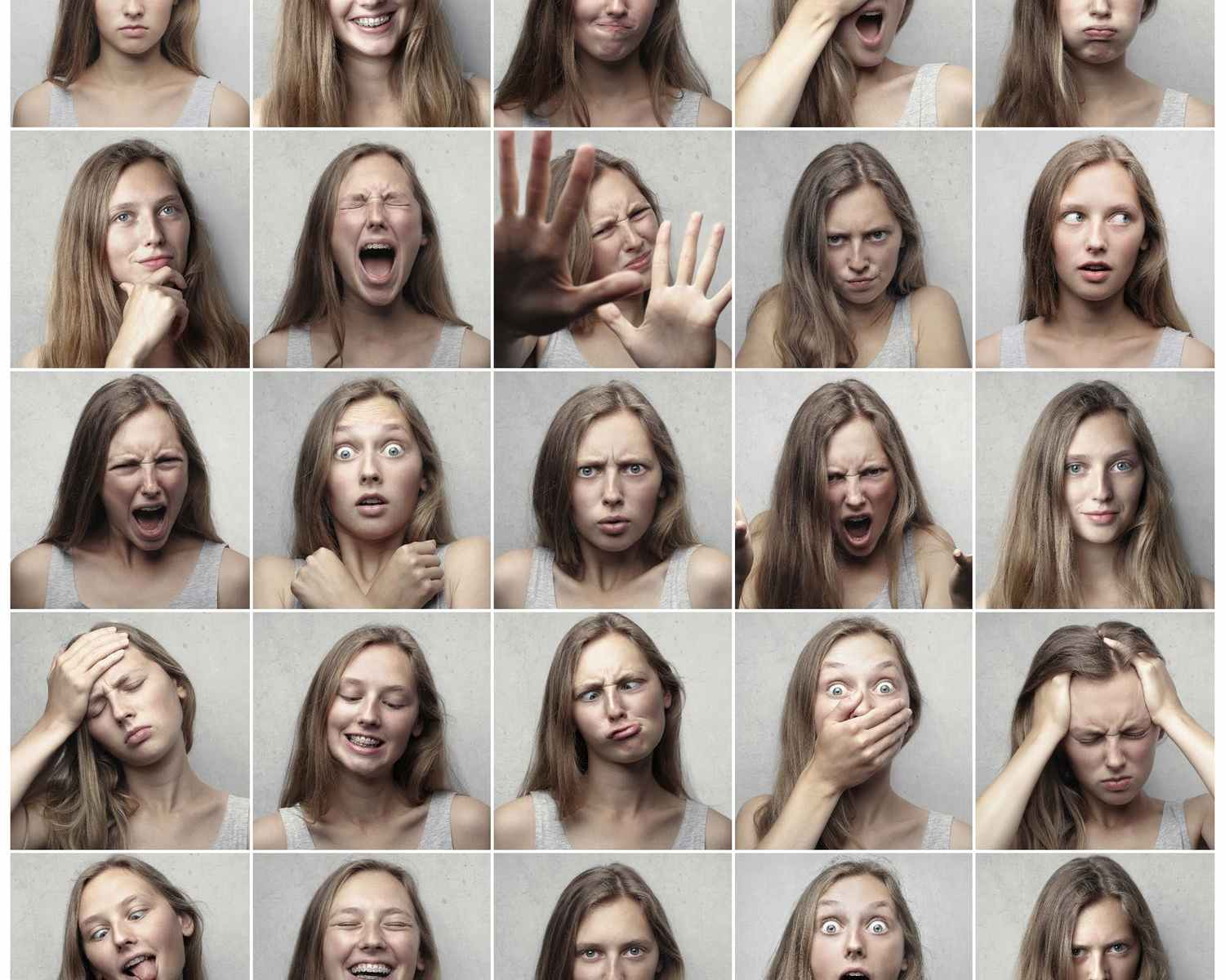 Collection of photos of young blonde woman making many different facial expressions