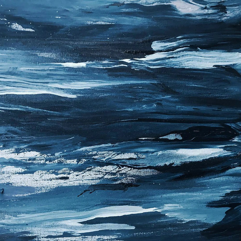 Abstract painting of blue ocean waves
