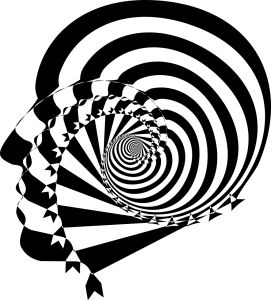 Head with black and white spiral