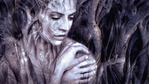 Thank you for being a friend: abstract picture of mystical woman with roots growing around