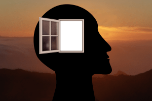 Think outside the box - human head with open window in head