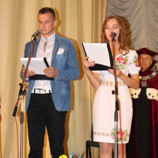 The hosts of the festival Andriy Vasyliv and Iryna Fitel