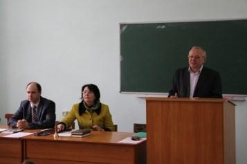 Доповідає голова комісії професор Леонід Тимошенко про атестацію біолого-природничого факультету