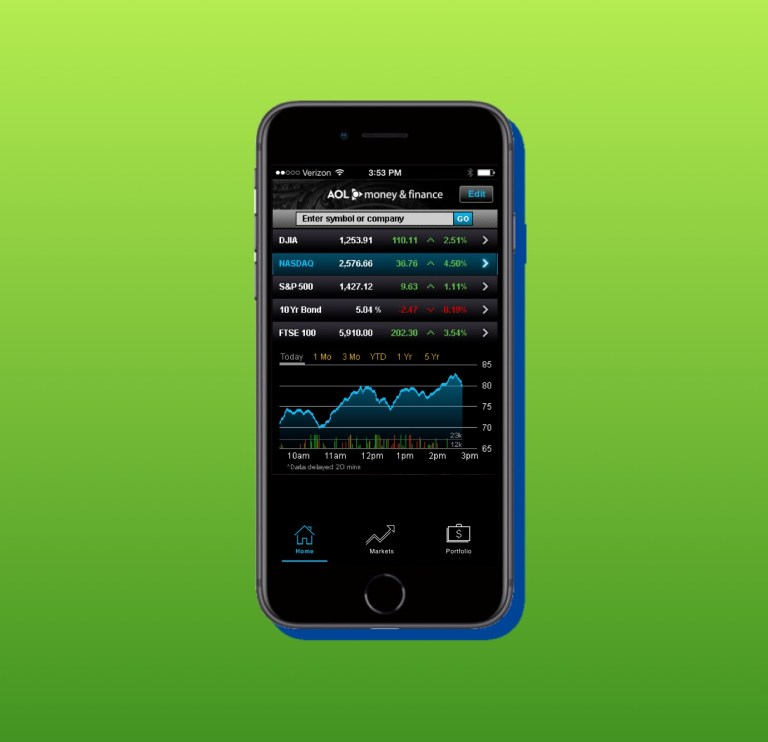 portfolio - AOL money and finance app 2B