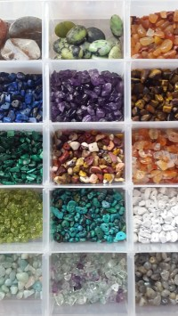 Gemstone chips including lapis lazuli, peridot, tigers eye and mookite jasper