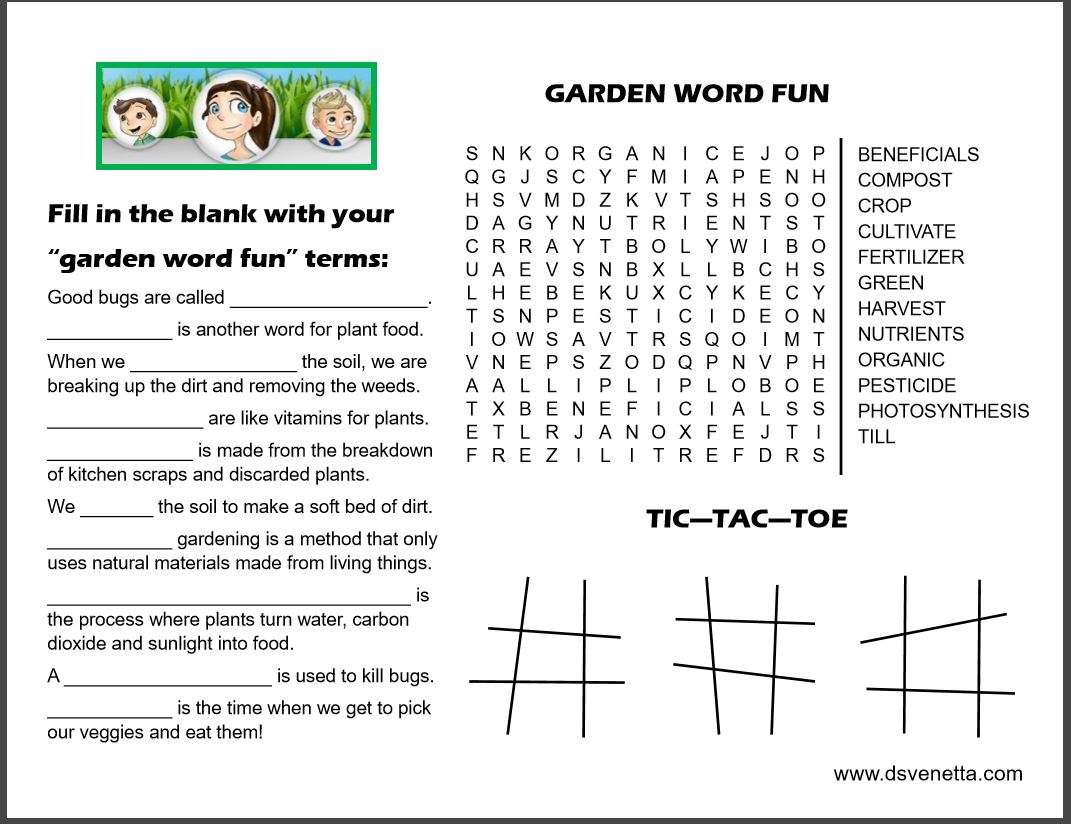 Activity Sheets From The Garden With Author D S Venetta