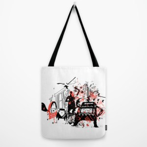 """Tote bags with original artwork available at Ds Society6 online shop. See full list here: http://society6.com/dsway/bags Our quality crafted Tote Bags are hand sewn in America using durable, yet lightweight, poly poplin fabric. All seams and stress points are double stitched for durability. They are washable, feature original artwork on both sides and a sturdy 1"""" wide cotton webbing strap for comfortably carrying over your shoulder."""