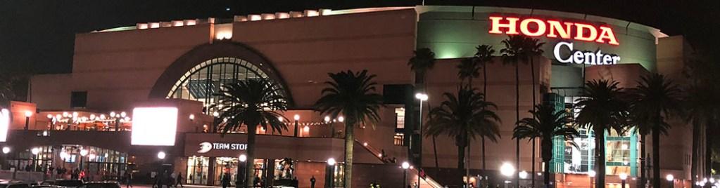Honda Center panorama Anaheim Ducks parking events seating food