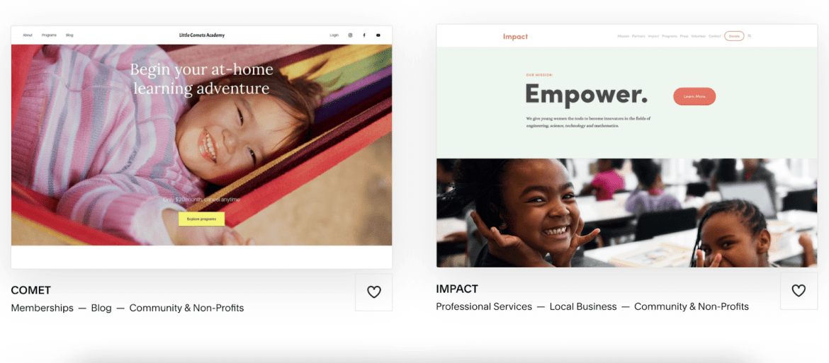Squarespace templates Comet and Impact