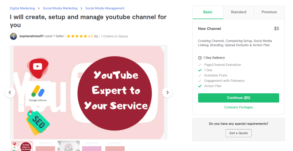 Fiverr screenshot - luqmanahmed11 youtube channel manager gig