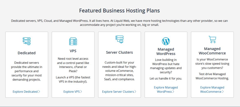 Screen capture of Liquid Web's hosting plans
